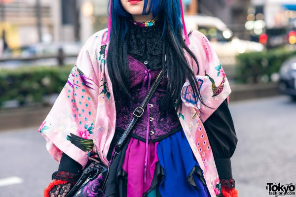 Odango Hairstyle, Vintage Kimono, Miho Matsuda Dress, Spiny Cream, Dolls Kill Platforms & Killstar Bag in Harajuku 5
