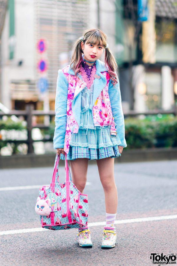 Kawaii Street Fashion in Harajuku w/ Twin Tails, 6%DokiDoki Fuzzy Jacket, Candy Stripper Plaid Skirt, Reebok Polka Dot Sneakers, Glem Handmade Accessories & Cat Print Bag