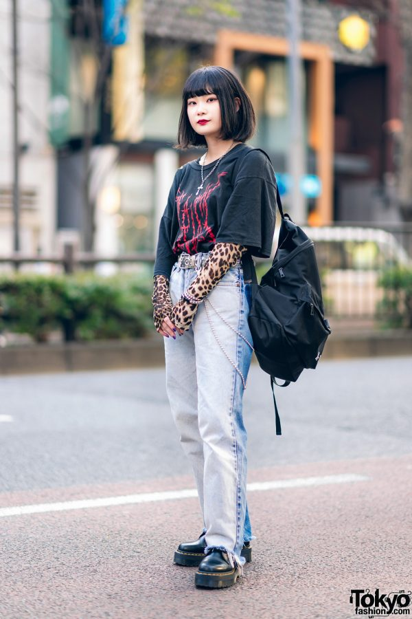 Casual Tokyo Streetwear Style w/ Fringed Bob, Faith Tokyo Acid Wash Jeans, Dr. Martens Shoes, Groovy, Another Youth & Basic Cotton Backpack