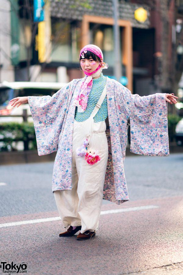 Sakura Kimono Streetwear Style in Harajuku w/ Headscarves, Glitter Makeup, Popcorn Pleat Top, W Closet Overalls, Sling Bag & Oriental Traffic Suede Loafers