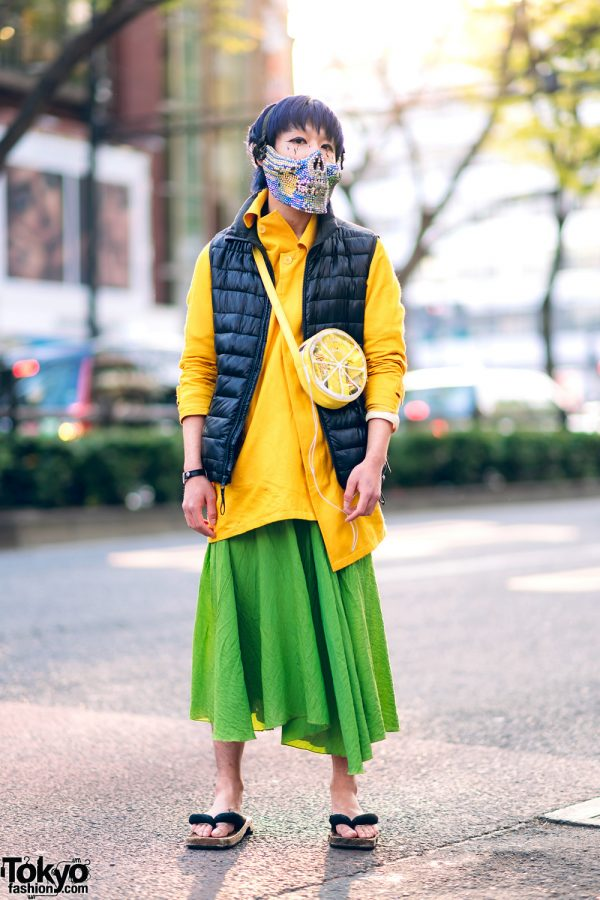 Harajuku Street Style w/ Blue Hair, Dripping Eye Makeup, Jeweled Mask, Beautiful People Asymmetric Jacket, Puffer Vest, Long Skirt & Geta Sandals