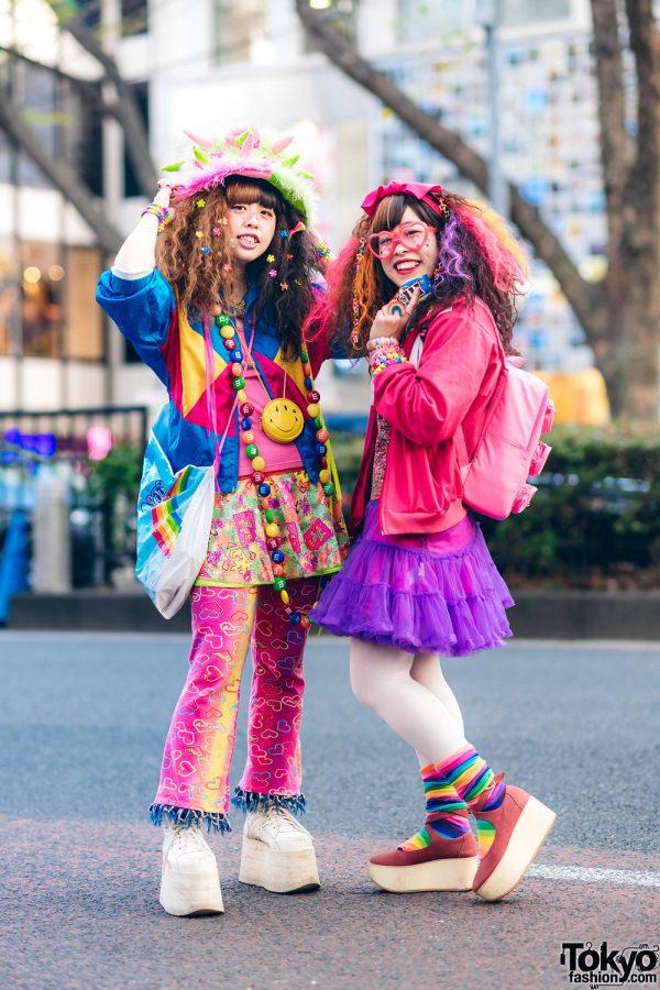 Kawaii Harajuku Hadeko Street Styles w/ Fuzzy Monster Hat, Heart Glasses, M&Ms Necklace, Lego Backpack, Panama Boy, Angel Blue, Buffalo & Tokyo Bopper