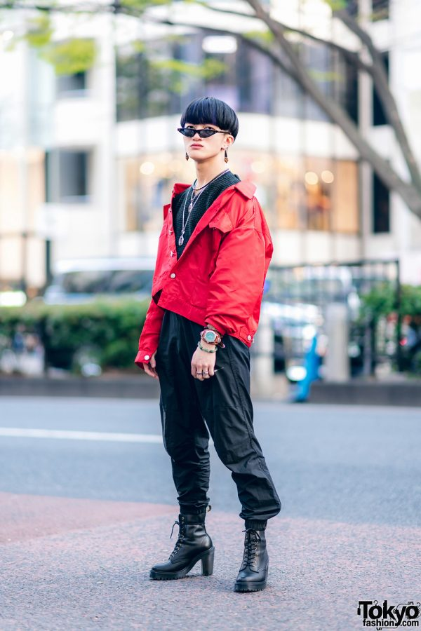 Tokyo Street Style w/ Blunt Bob, Saad Sunglasses, Flamingo Mabataki Jacket, Azul By Moussy, Nike & Dr. Martens Heeled Boots