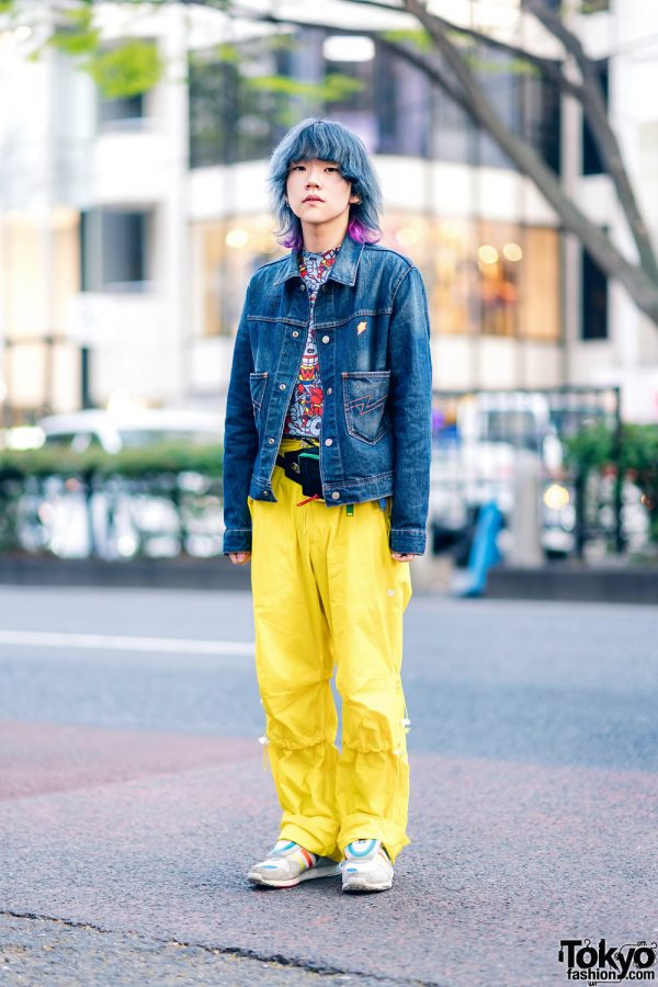 Two-Tone Shaggy Hair, W&LT Denim Jacket, Printed Shirt, Yellow Pants, Adidas Sneakers & Waist Bag