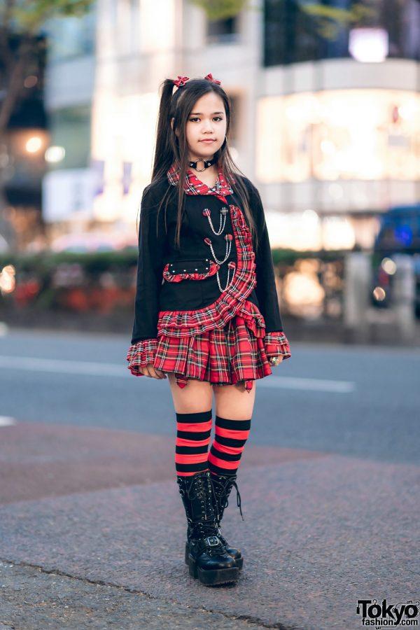 ACDC Rag Black and Red Harajuku Street Style w/ Village Vanguard & AnkoROCK