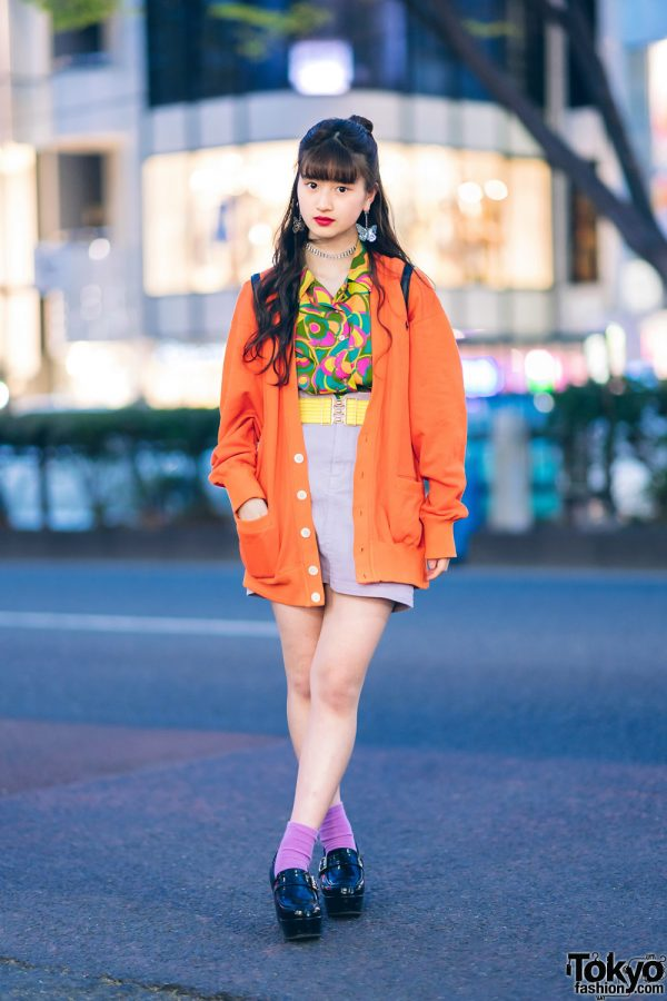 Japanese Pop Idol A-pon in Vintage-Inspired Street Fashion w/ Butterfly Drop Earrings, Ralph Lauren Cardigan, RRR Vintage, G2? Belt, WEGO Loafers & Quilted Backpack
