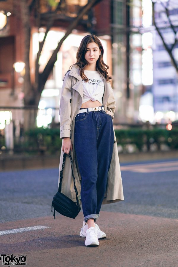 Japanese Model in Chic Casual Wear Style w/ Lace Glass Trench Coat, Zara Knotted Tee, Dior Belt, Boyfriend Jeans, Nike Sneakers & Laval Bag