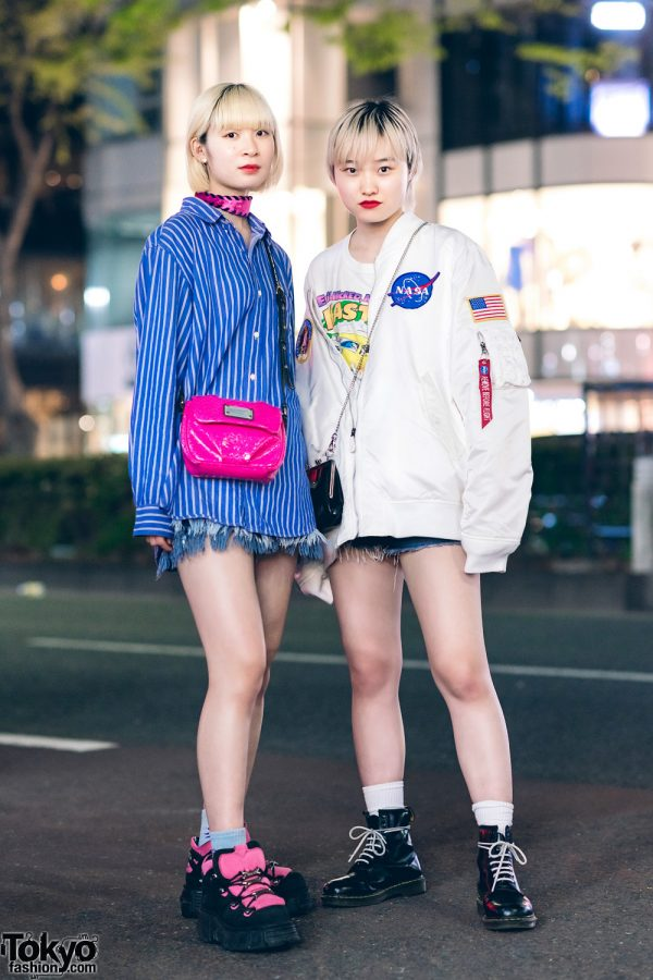 Harajuku Girls w/ Blonde Hairstyles, Fringed Denim Shorts, NASA Bomber Jacket, Pameo Pose, Vivienne Westwood, Marc Jacobs, New Rock Platforms & Dr. Martens Boots
