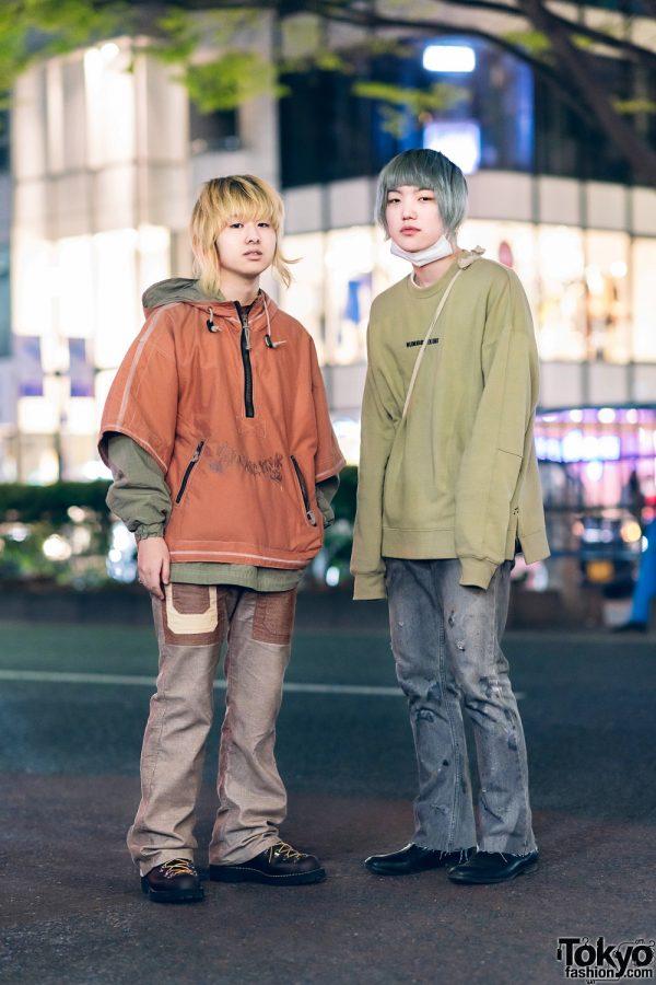 Harajuku Vintage Streetwear Styles w/ Colored Hair, Orange Hoodie & Number Nine Sweater