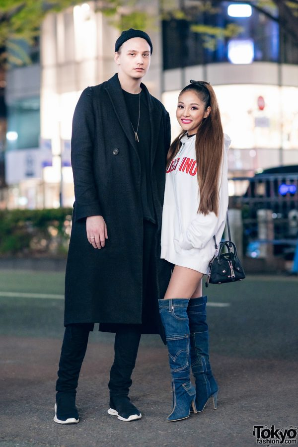 Harajuku Duo in Black & White Street Styles w/ Rick Owens, Saint Laurent, Moschino x H&M, After None & Denim Knee High Boots