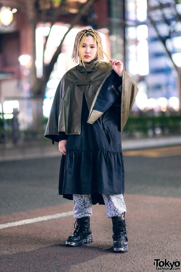 Tokyo Layered Street Style w/ Yellow Braids, Septum Ring, Growing Pains Faux Leather Cape, Tiered Dress, Kinsella Snakeskin Pants & New Rock Boots