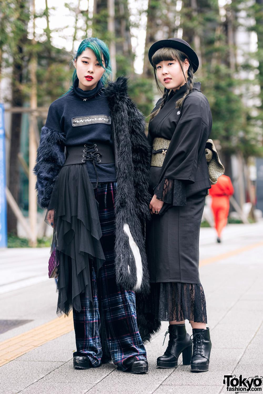 Vantan Students in Aqua Hair, Faux Fur Coat, Kimono Dress, MYOB, Zara, Dior, H&M, (ME) Harajuku & Anna Sui Quilted Bag