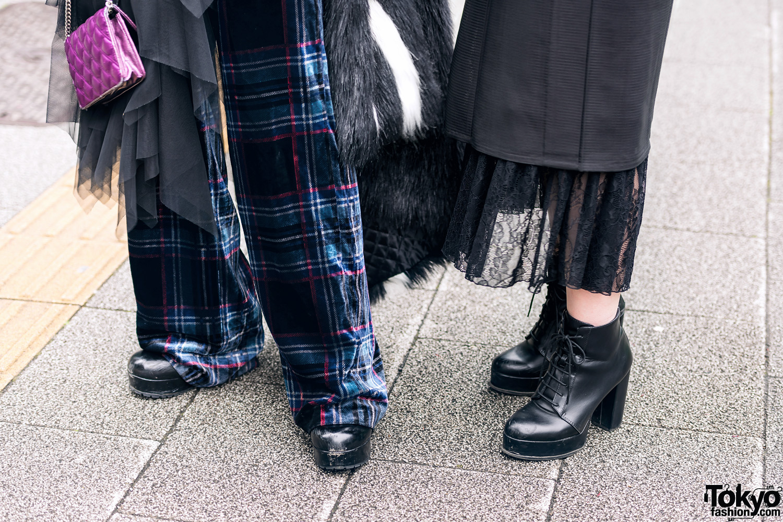 Vantan Students In Aqua Hair Faux Fur Coat Kimono Dress