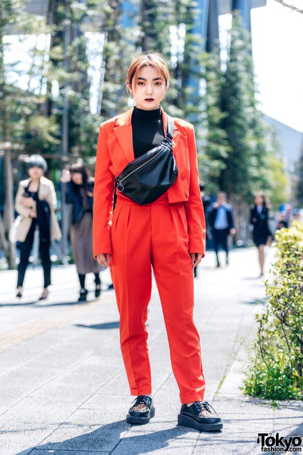 Chic Women's Suit Fashion in Shibuya w/ Dark Lipstick, Orange Suit, Waist Bag & Leopard Print Creepers