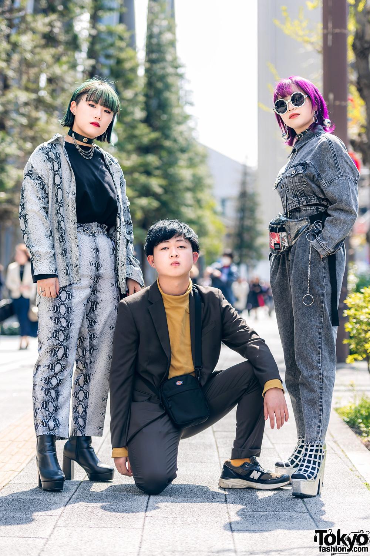 Acid Wash Denim & Snakeskin Print Street Styles in Tokyo w/ Evris, One Spo, Rasvoa, WEGO, Dickies & New Balance