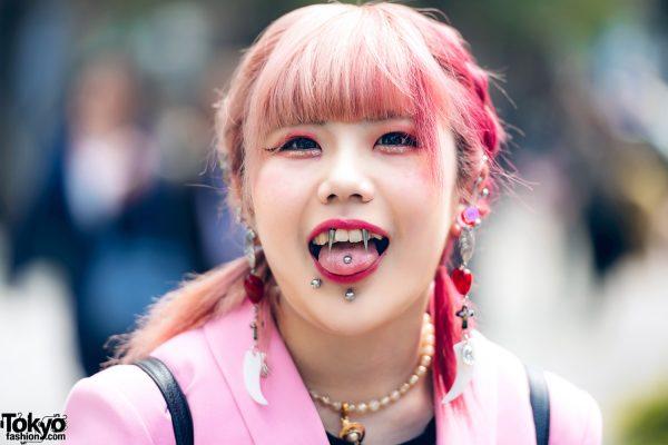 Pink Tokyo Streetwear Styles w/ Metal Vampire Fangs, M.Y.O.B., Pink House, Kobinai & Vivienne Westwood, 7