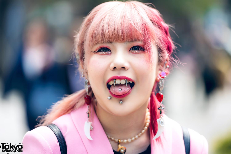 Pink Tokyo Streetwear Styles W Metal Vampire Fangs M Y O
