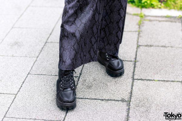 All Black Tokyo Streetwear Style w/ Zara, Never Mind the XU Snakeskin Pants, Choker w/ Body Chain & Attagirl Lace-Up Shoes 6