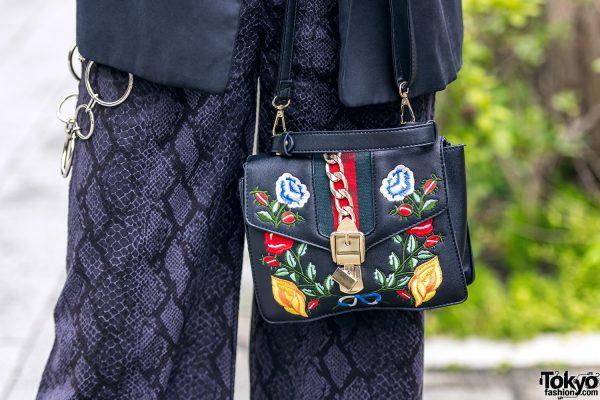 All Black Tokyo Streetwear Style w/ Zara, Never Mind the XU Snakeskin Pants, Choker w/ Body Chain & Attagirl Lace-Up Shoes 5