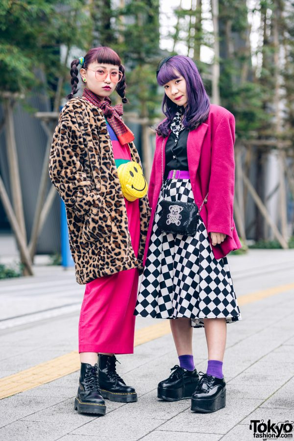 Kawaii Tokyo Girls Street Styles w/ Purple Hair, WEGO Leopard Coat, RRR Vintage Blazer, Checkered Skirt
