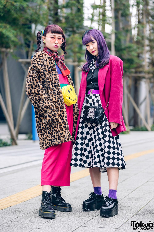 Kawaii Tokyo Girls Street Styles w/ Purple Hair, WEGO Leopard Coat, RRR Vintage Blazer, Checkered Skirt