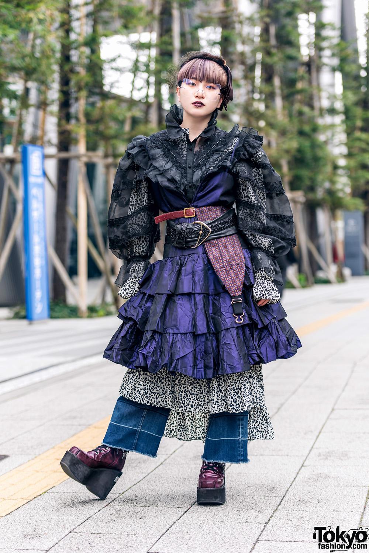 Layered Ruffles Tokyo Street Fashion w/ Birdcage Veil, Sheer Blouse, Multiple Belts, Kinji Vintage & Yosuke Boots