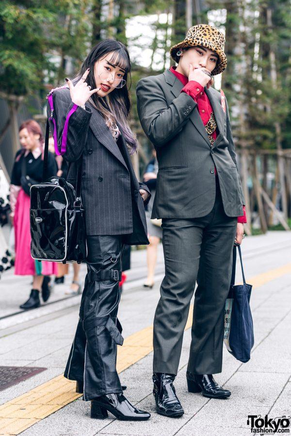 Japanese Street Styles w/ Two-Tone Hair, Leopard Hat, Faith Tokyo Pleather Pants, Gallerie, Marine Serre, Kirsch, Guess & Yosuke