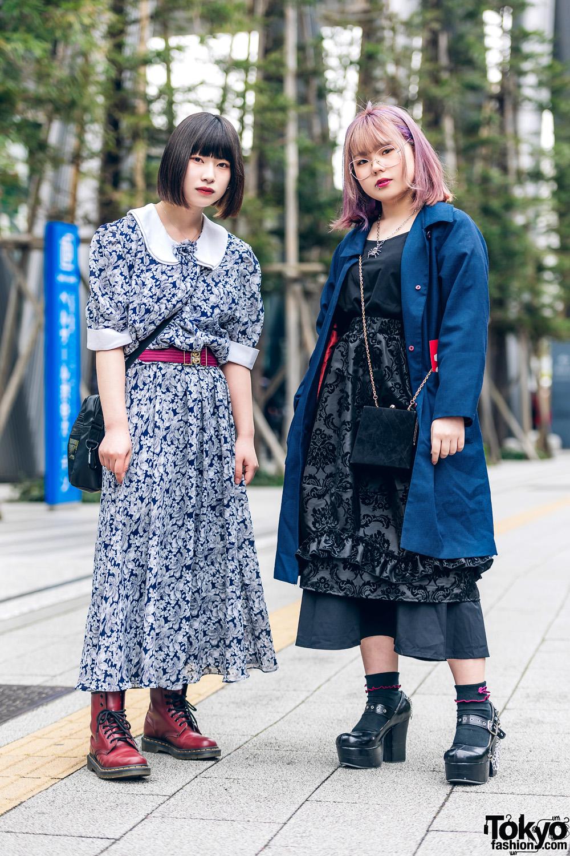 Purple Hair, Floral Print Dress, Drug Honey Damask Print Skirt, 4C°, Faith Tokyo & Dr. Martens Boots