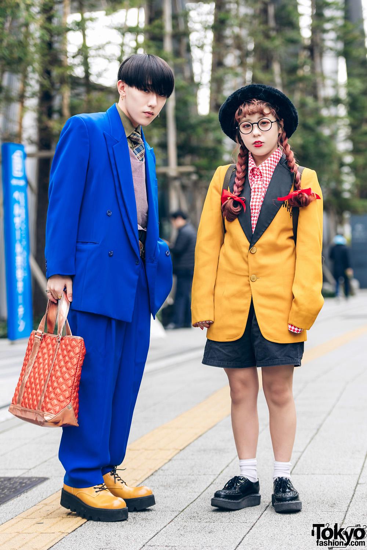 Tokyo Streetwear Styles w/ Twin Braids, Furry Hat, Elcasion Vintage Suit, Gucci Rings, Fjallraven Kanken Backpack & George Cox Creepers