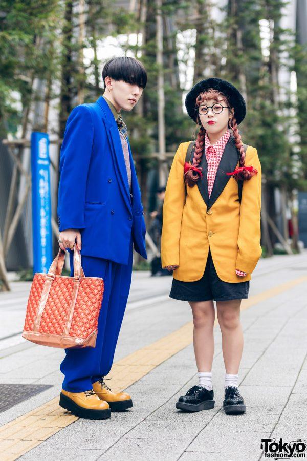 Tokyo Streetwear Styles w/ Twin Braids, Furry Hat, Elcasion Vintage Suit, Gucci Rings, Fjallraven Kanken Backpack & George Cox Creepers 3