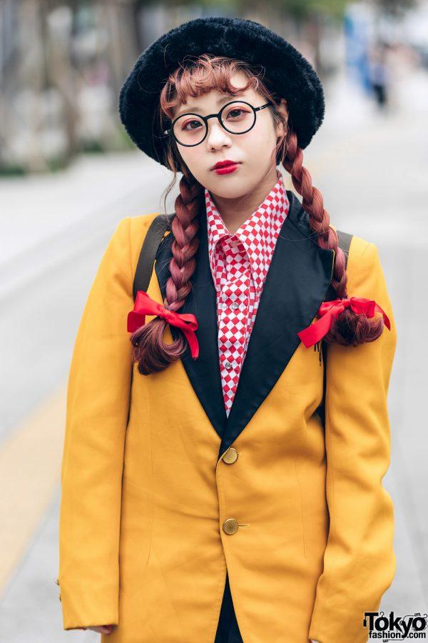 Tokyo Streetwear Styles w/ Twin Braids, Furry Hat, Elcasion Vintage Suit, Gucci Rings, Fjallraven Kanken Backpack & George Cox Creepers 8
