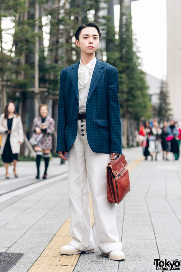 Japanese Rapper in Dapper Street Fashion w/ Agnes B Homme Plaid Blazer, Button Fly Pants, Zara Sneakers & Leather Satchel