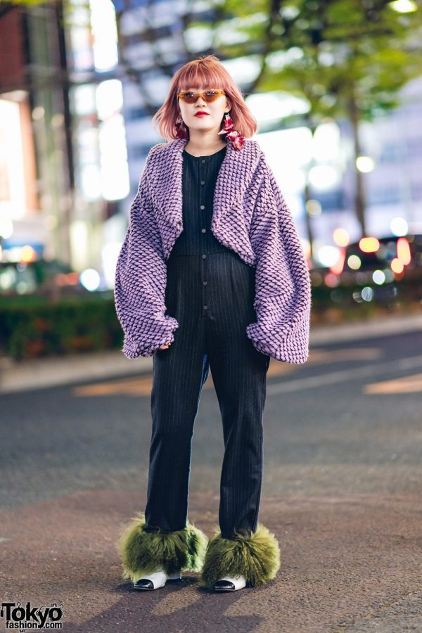 Japanese Fashion Designer in aNANA Tih Sayim w/ Feather Earrings, Cropped Cardigan, Pinstripe Jumpsuit w/ Faux Fur Trims & Pointy Boots