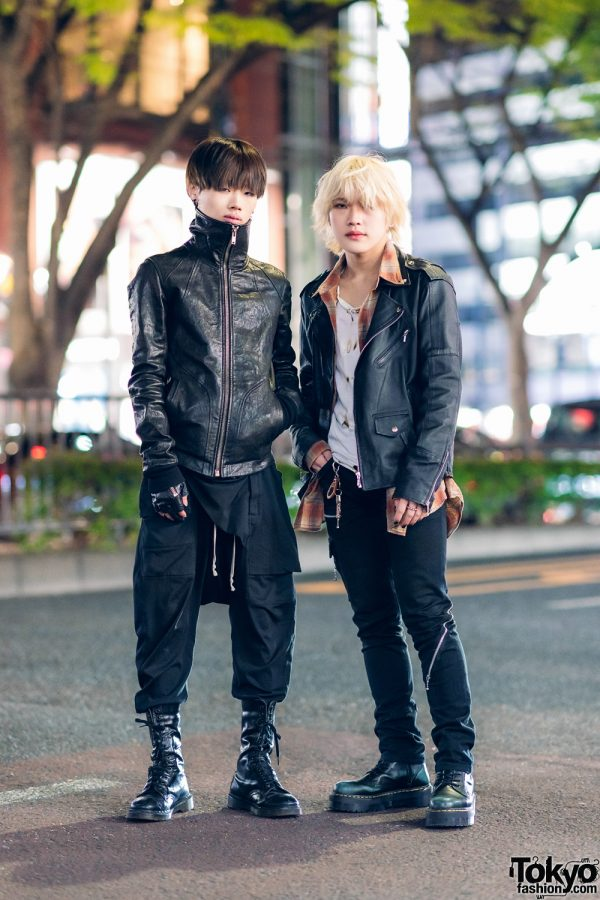 Black Leather Street Styles in Harajuku w/ Rick Owens Leather High Neck Jacket, Vintage Boots, 99%IS-, Motorcycle Jacket, 666 Zipper Jeans & Dr. Martens 3