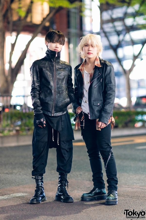 Black Leather Street Styles in Harajuku w/ Rick Owens Leather High Neck Jacket, Vintage Boots, 99%IS-, Motorcycle Jacket, 666 Zipper Jeans & Dr. Martens