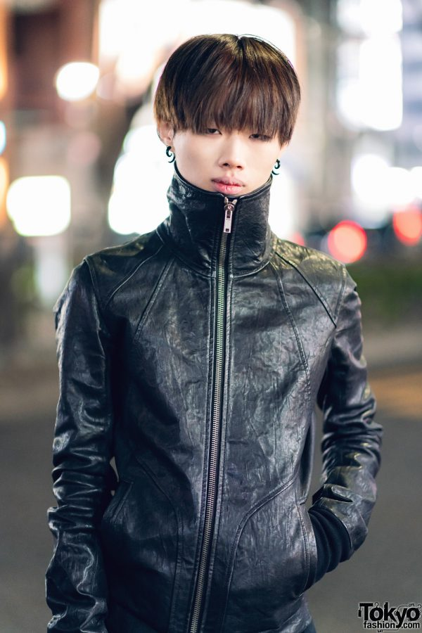 Black Leather Street Styles in Harajuku w/ Rick Owens Leather High Neck Jacket, Vintage Boots, 99%IS-, Motorcycle Jacket, 666 Zipper Jeans & Dr. Martens 4