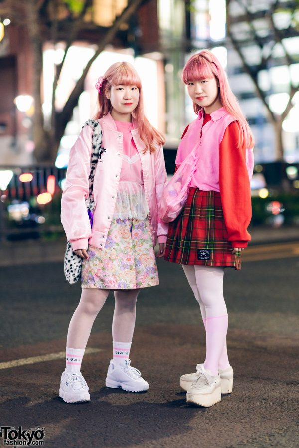Japanese Twins in Harajuku w/ Pink Hair, Satin Varsity Jacket, Floral Shorts, FILA, Lovers Rock London Tokyo Plaid Skirt, Kiki2, WEGO Leopard Bag & Tokyo Bopper Bow Shoes