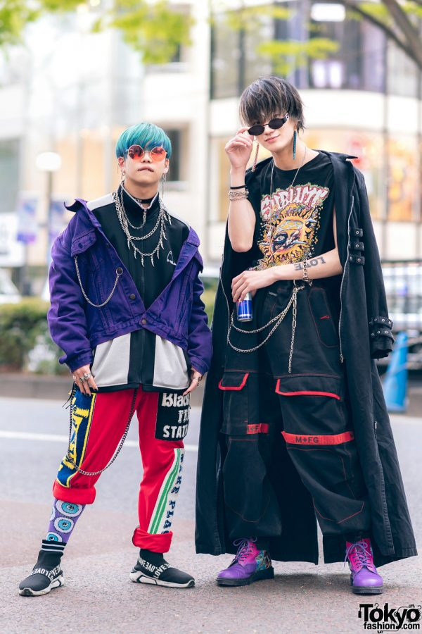 Harajuku Guys Street Styles w/ Broke City Gold Denim Jacket, Patched Pants, Tripp NYC Coat, Marithe + Francois Girbaud & Dr. Martens x New Order Boots