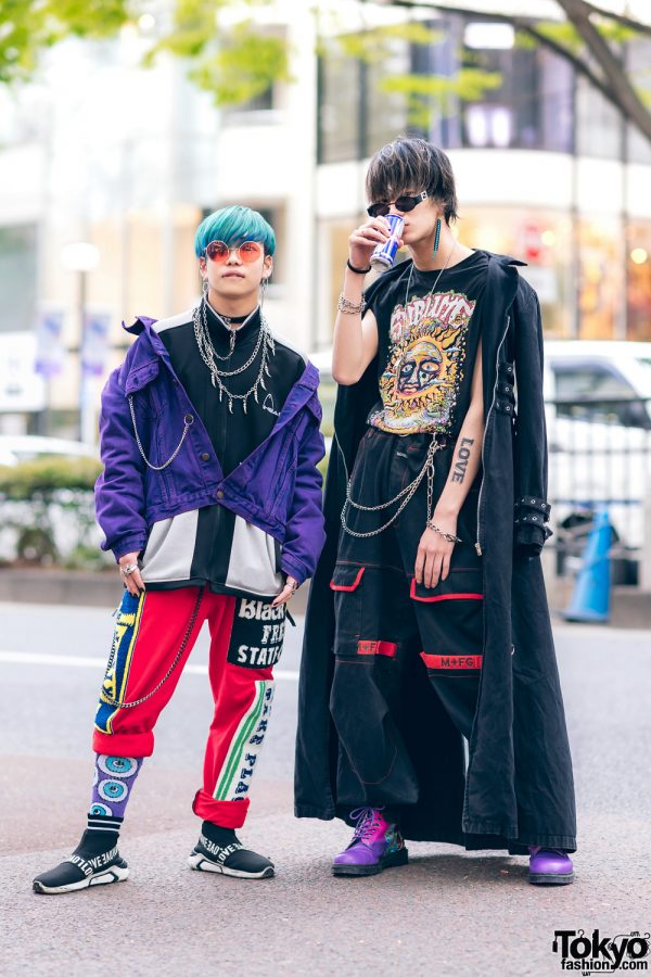 Harajuku Guys Street Styles w/ Broke City Gold Denim Jacket, Patched Pants, Tripp NYC Coat, Marithe + Francois Girbaud & Dr. Martens x New Order Boots 4