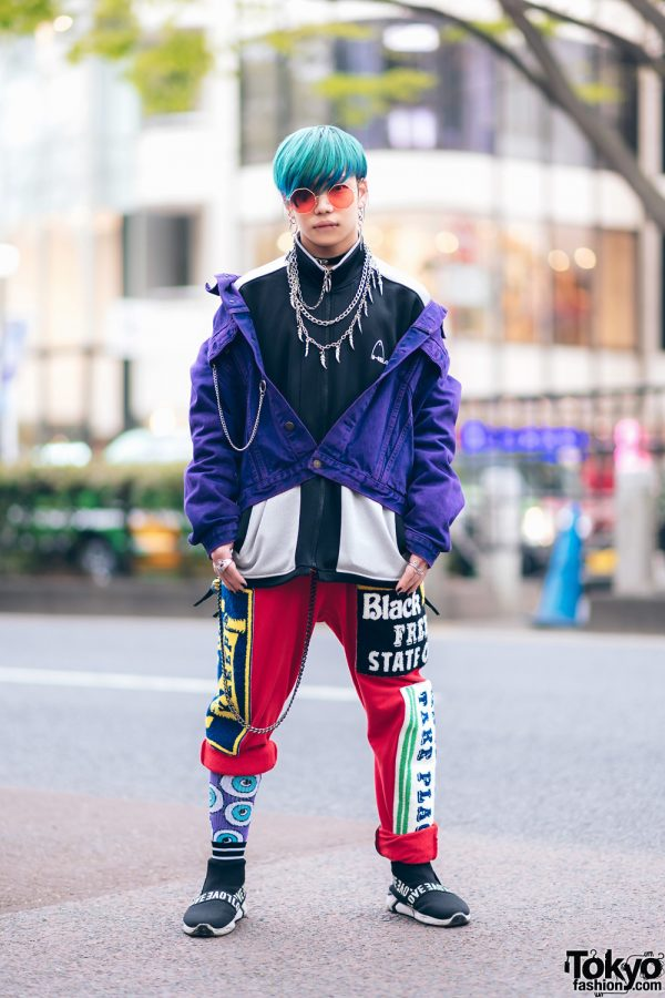 Harajuku Guys Street Styles w/ Broke City Gold Denim Jacket, Patched Pants, Tripp NYC Coat, Marithe + Francois Girbaud & Dr. Martens x New Order Boots 5