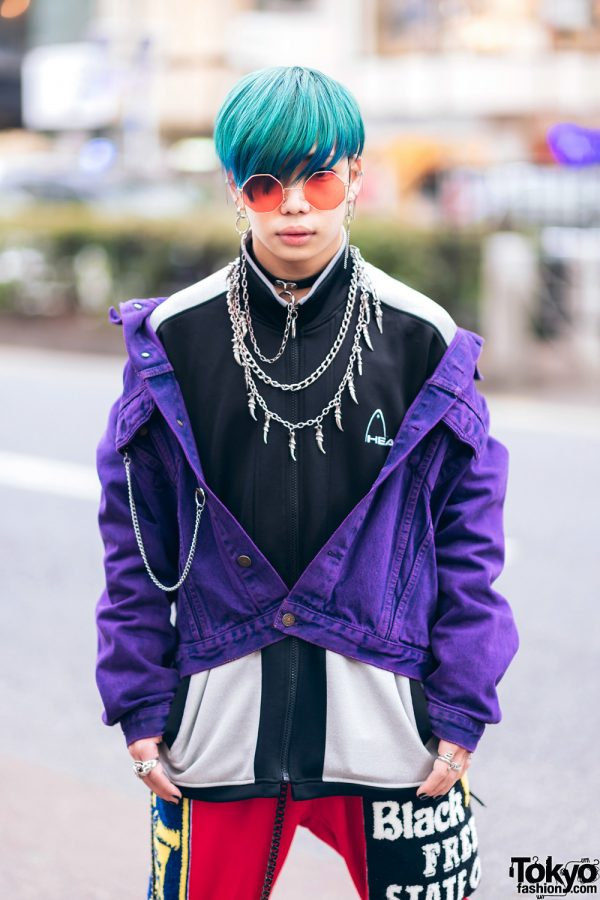 Harajuku Guys Street Styles w/ Broke City Gold Denim Jacket, Patched Pants, Tripp NYC Coat, Marithe + Francois Girbaud & Dr. Martens x New Order Boots 6