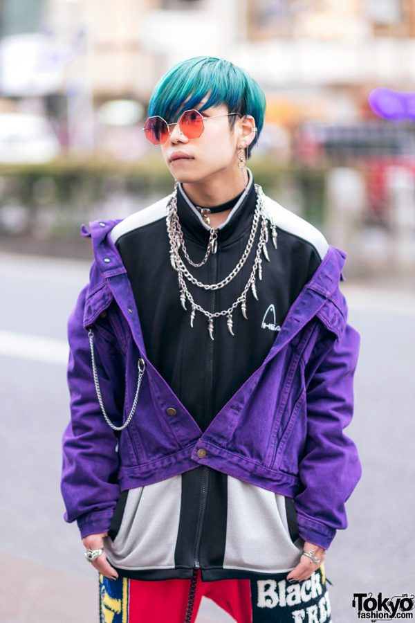 Harajuku Guys Street Styles w/ Broke City Gold Denim Jacket, Patched Pants, Tripp NYC Coat, Marithe + Francois Girbaud & Dr. Martens x New Order Boots 7