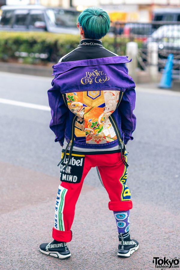 Harajuku Guys Street Styles w/ Broke City Gold Denim Jacket, Patched Pants, Tripp NYC Coat, Marithe + Francois Girbaud & Dr. Martens x New Order Boots 8