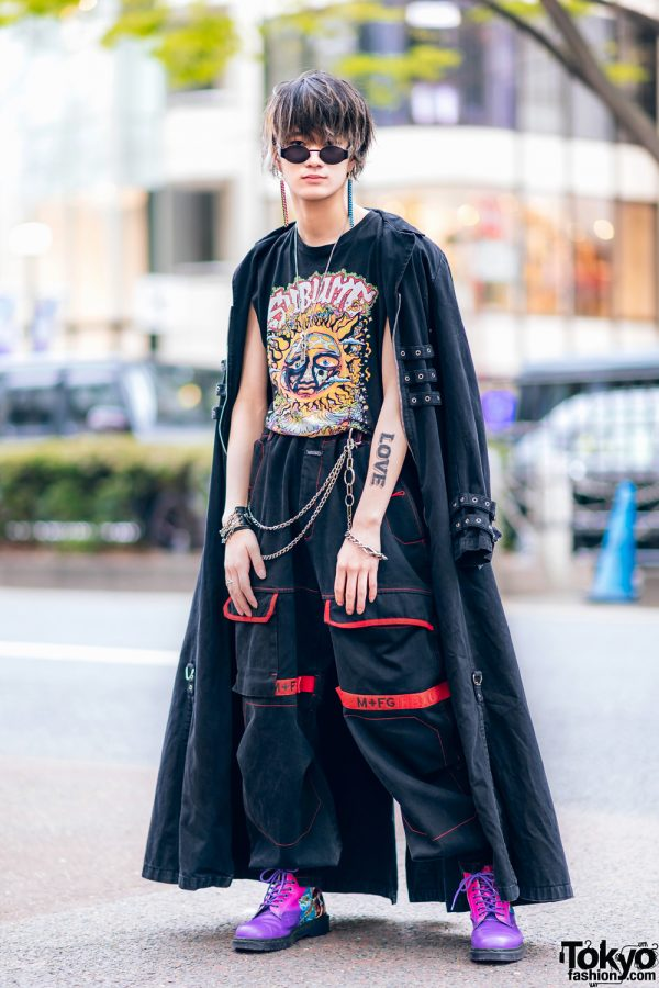 Harajuku Guys Street Styles w/ Broke City Gold Denim Jacket, Patched Pants, Tripp NYC Coat, Marithe + Francois Girbaud & Dr. Martens x New Order Boots 14