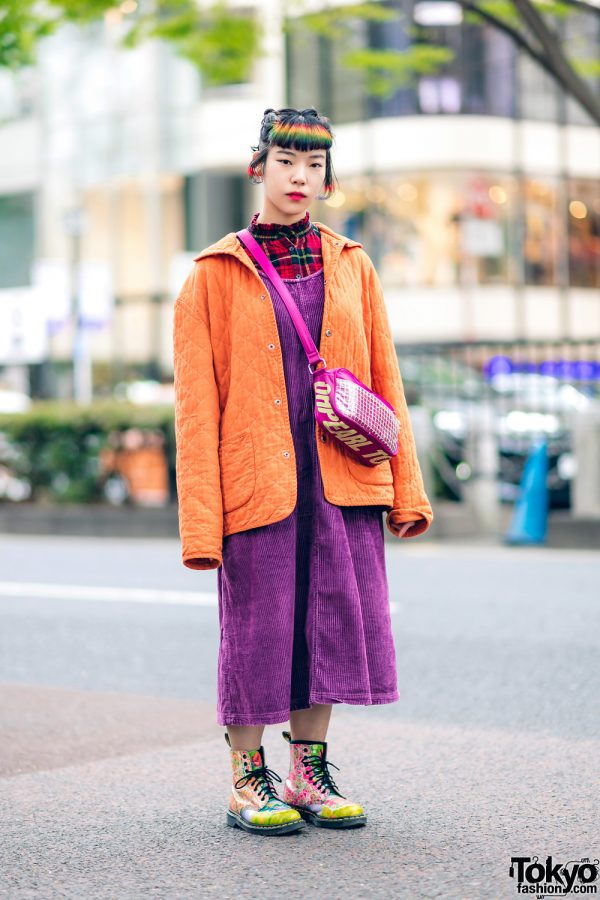 Rainbow Bangs Shaved Hairstyle & Colorful Harajuku Street Style w/ Funktique Tokyo Vintage, Oh Pearl & Dr. Martens