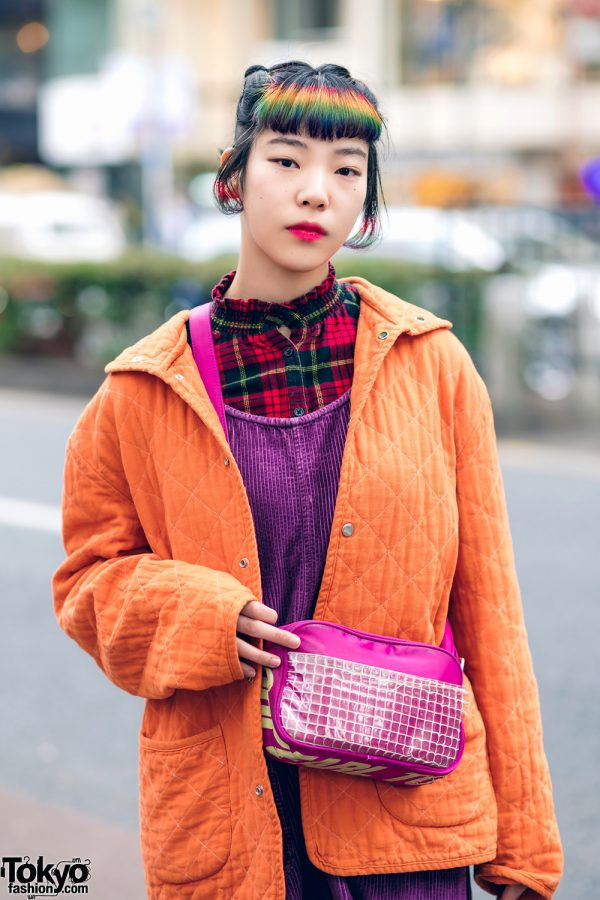 Rainbow Bangs Shaved Hairstyle & Colorful Harajuku Street Style w/ Funktique Tokyo Vintage, Oh Pearl & Dr. Martens 3