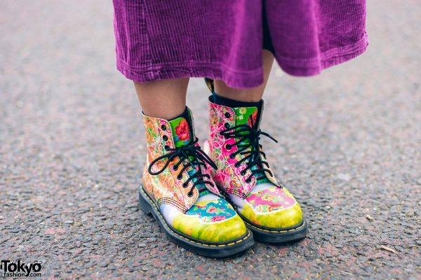 Rainbow Bangs Shaved Hairstyle & Colorful Harajuku Street Style w/ Funktique Tokyo Vintage, Oh Pearl & Dr. Martens 6