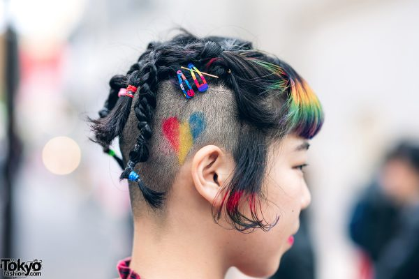 Rainbow Bangs Shaved Hairstyle & Colorful Harajuku Street Style w/ Funktique Tokyo Vintage, Oh Pearl & Dr. Martens 4
