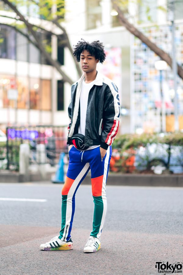 Japanese Male Model in Vintage Athleisure Streetwear Style w/ Champion and Adidas 2