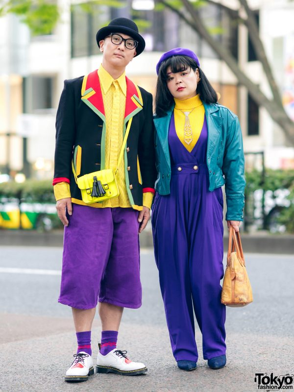 Harajuku Couple in Colorblock Street Styles w/ Bowler Hat, Punk Cake, Cross Colours Denim Shorts, Dr. Martens Loafers, Kinji & Sometimes Store Denim Boots